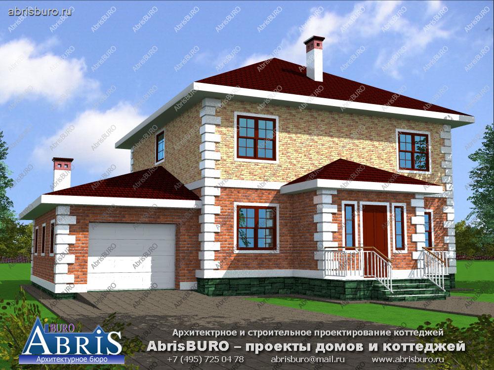 Проект дома с фасадами из облицовочного кирпича K1517-197