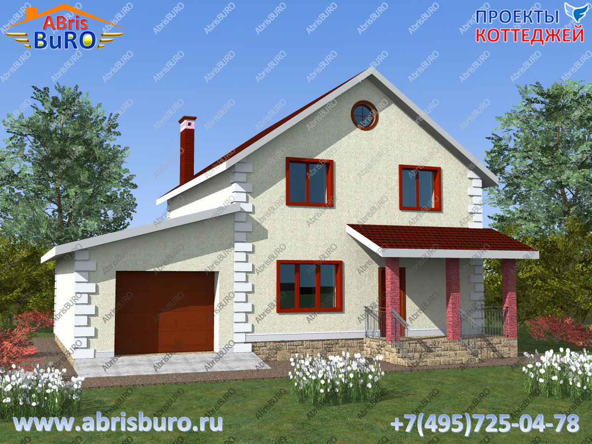 Проект мансардного дома с гаражом K1628-160