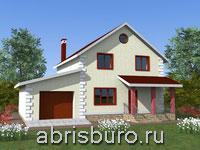 Проект двухэтажного коттеджа с гаражом и террасой K1628-160