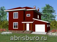 Проект двухэтажного каркасного дома с гаражом K1630-152