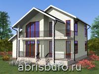 Проект двухэтажного коттеджа с гаражом, террасой и балконом K1631-159