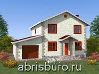 Проект двухэтажного дома с гаражом K1632-179