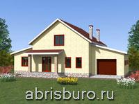 Проект двухэтажного мансардного дома с гаражом K1634-198