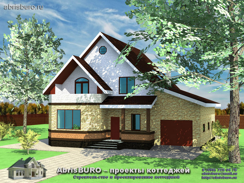 Проект мансардного дома с гаражом K158-186