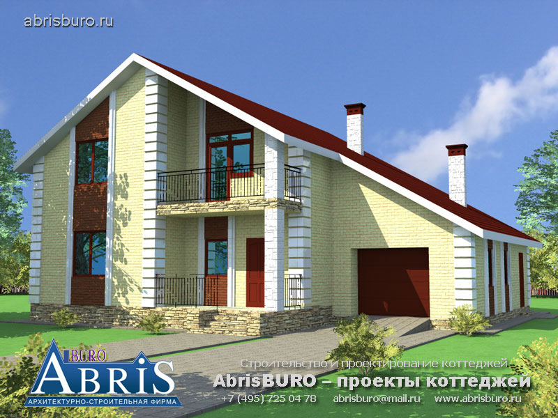 Проект мансардного дома с гаражом K57-190