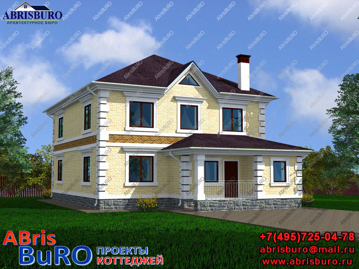 Проект двухэтажного дома с шестью спальнями K2061-214