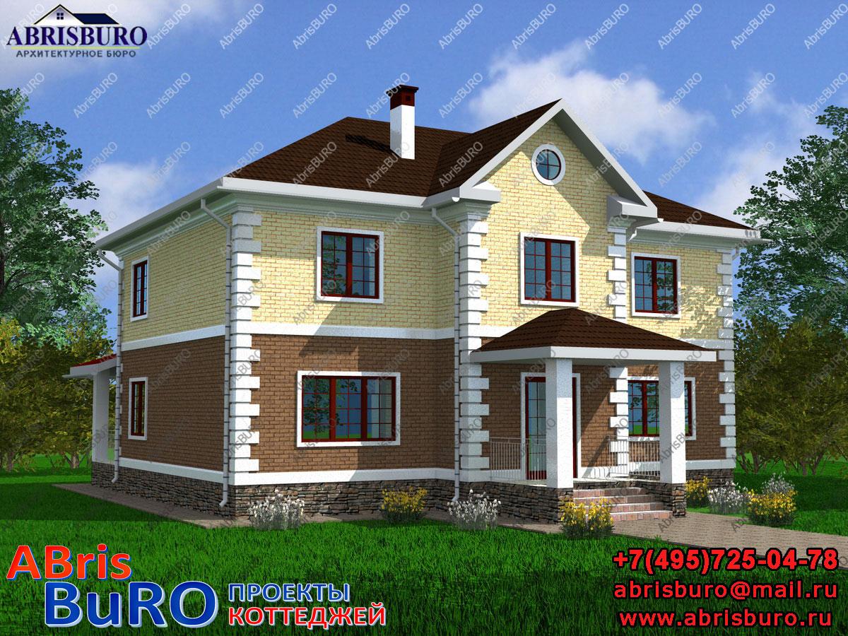 Проект дома с фасадами из облицовочного кирпича K2062-240