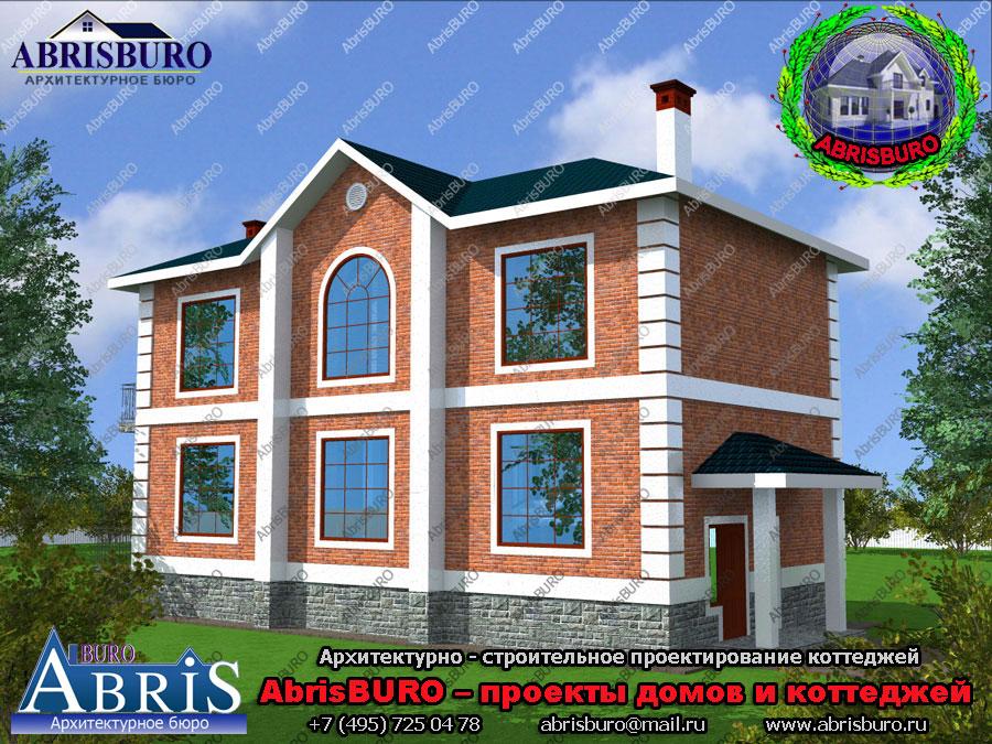 Проект дома с фасадами из облицовочного кирпича K1555-188