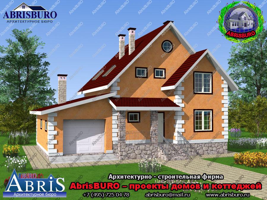 Проект мансардного дома с гаражом K1617-153
