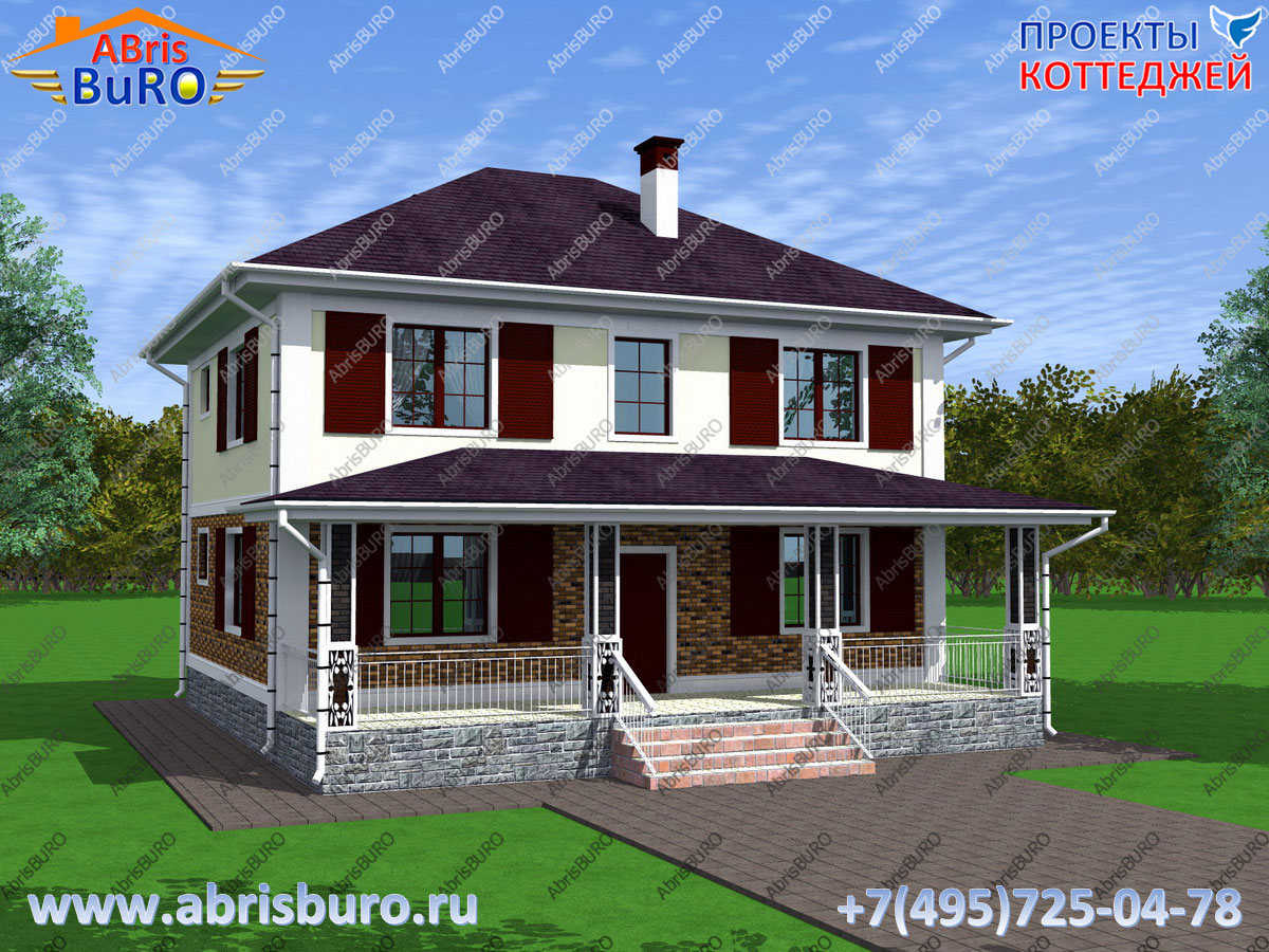 Проект двухэтажного дома K1185-136