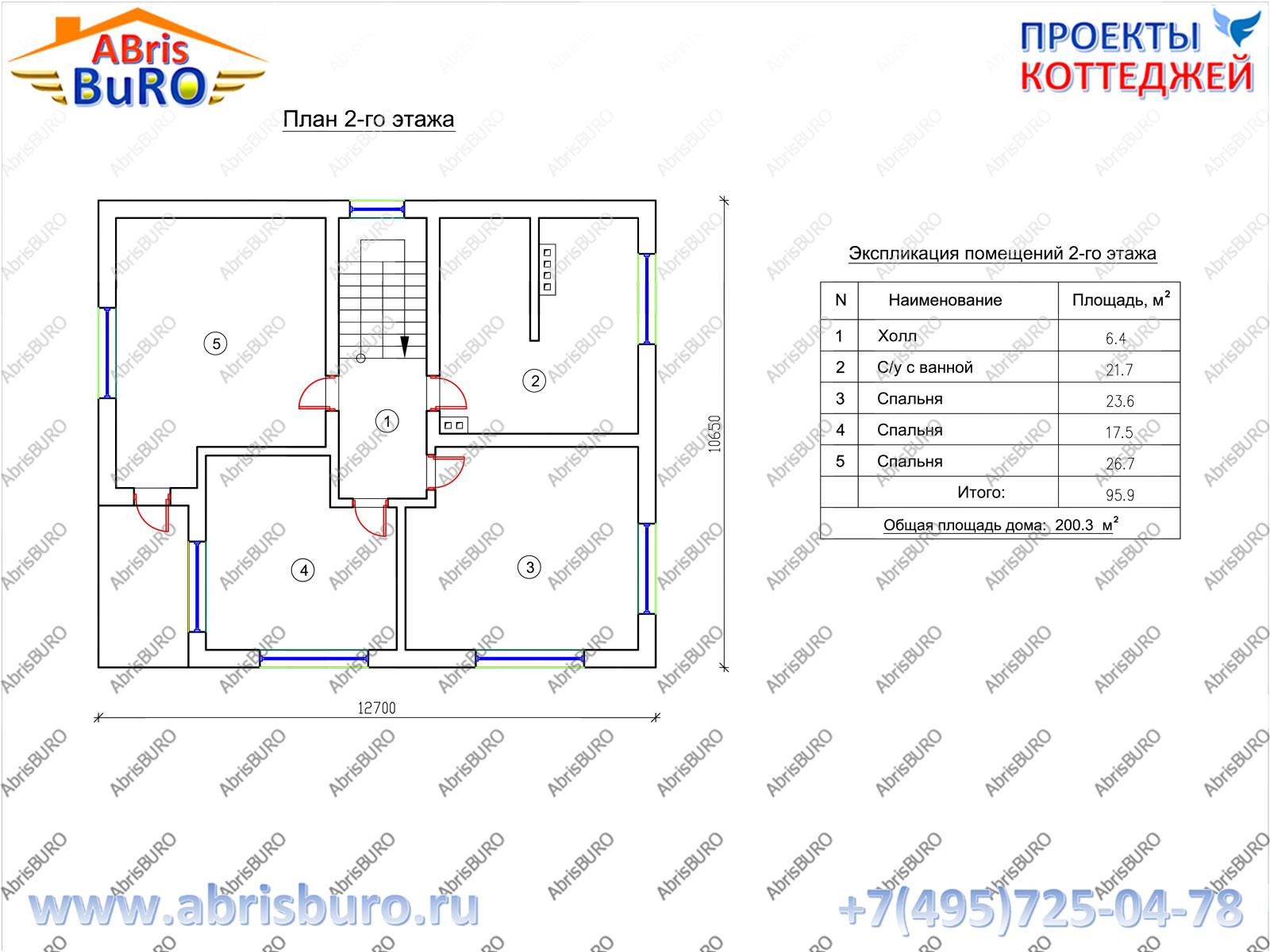План 2-го этажа коттеджа