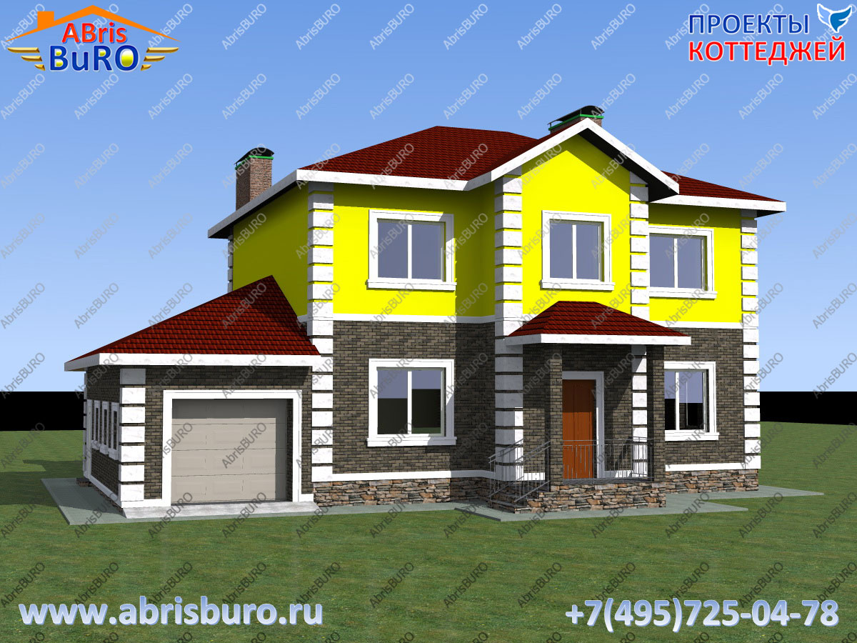 Проект 2-х этажного дома с пристроенным гаражом в классическом стиле K2088-228