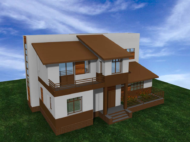 Проект 2-х этажного коттеджа в современном стиле из кирпича K2090-238