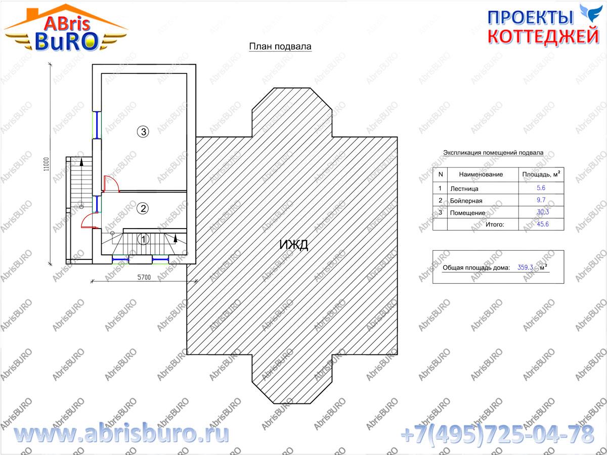План цокольного этажа дома